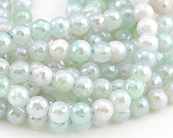 Seafoam Line Agate w/ Silver Luster Faceted Round 6mm
