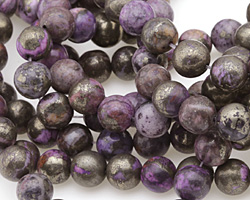 Golden Pyrite w/ Purple Quartz Round 10mm