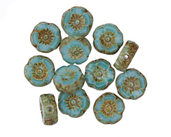 Czech Glass Turquoise Picasso Hibiscus Coin 8-9mm