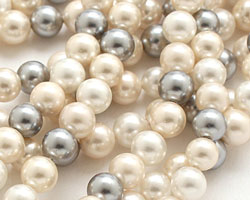 Vintage Lace Shell Pearl Mix Round 6mm