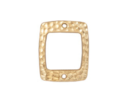 TierraCast Gold (plated) Drilled Hammertone Rectangle Ring 21x18mm