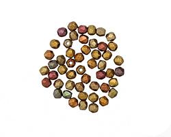 Czech Fire Polished Glass Matte Metallic Copper Gold Iris Round 2mm
