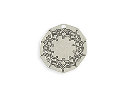 Vintaj Antique Sterling Silver (plated) Mandala Frame Blank 24mm