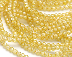 Lemon Ice Cubic Zirconia Faceted Round 3mm