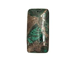 Malachite & Pyrite Rectangle Pendant 30x60mm