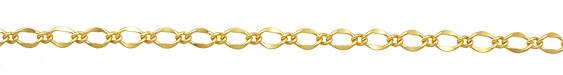 Satin Hamilton Gold (plated) Long & Short Half Flat Curb Chain