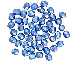 Czech Fire Polished Glass ColorTrends: Saturated Metallic Navy Peony Round 4mm