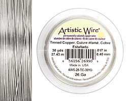 Artistic Wire Tinned Copper 26 gauge, 30 yards