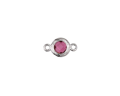 Cranberry Crystal in Silver (plated) Textured Bezel Link 8x13mm