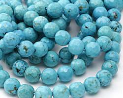 Blue Magnesite Faceted Round 8mm