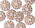 Czech Glass White w/ Copper Dahlia Coin 14mm