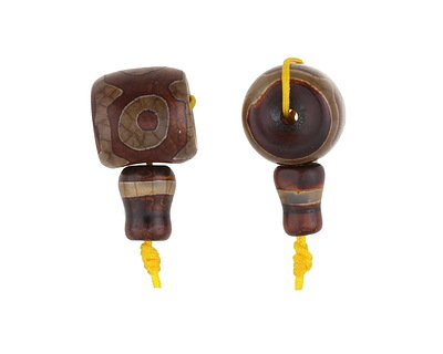 Tibetan (Dzi) Agate Barrel Guru Bead 14-15mm