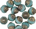 Czech Glass Bronzed Turquoise Turbine 11x10mm