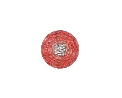 Czech Glass Cranberry w/ Silver Carnation Button 14mm