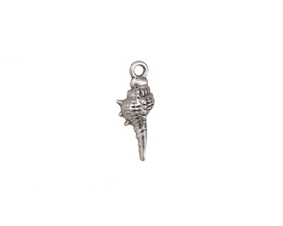 Antique Silver (plated) Murex Shell Charm 6x16mm