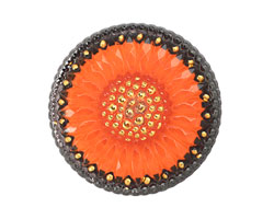 Czech Glass Tangerine w/ Black Daisy Button 32mm