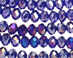 Cobalt AB Crystal Faceted Rondelle 8mm