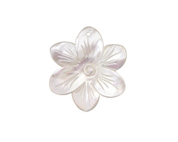 Mother of Pearl Carved Blossom Pendant 29x32mm