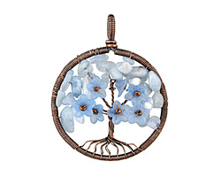 Aquamarine Antique Copper (plated) Wire-Wrapped Tree of Life Pendant 47x60mm