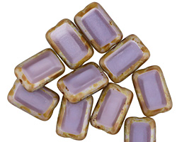 Czech Glass Lilac Picasso Rectangle 12x8mm