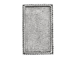 Nunn Design Antique Silver (plated) Rectangle Ornate Grande Brooch 28x46mm