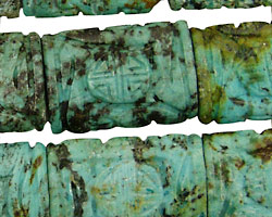 African Turquoise Carved Thin Pillow 25x18mm