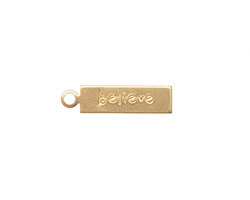 "Brass ""Believe"" Rectangle Charm 5x21mm"