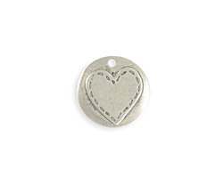 Vintaj Antique Sterling Silver (plated) Stitched Heart Blank 20mm