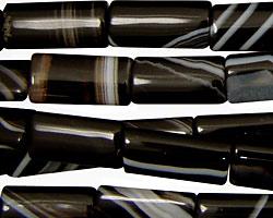 Black Sardonyx Thin Pillow 16x8mm