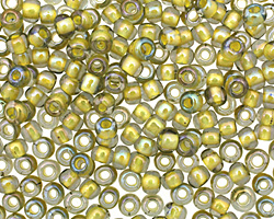 TOHO Luster Black Diamond (with Opaque Yellow Lining) Round 6/0 Seed Bead