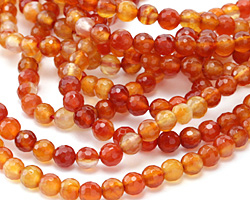 Carnelian (natural-orange) Faceted Round 6mm