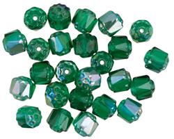 Czech Glass Emerald AB Lantern 6mm
