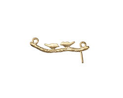 Satin Gold (plated) Love Birds on Branch Link w/ Post 26x10mm