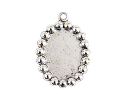 Nunn Design Antique Silver (plated) Vetri Beaded Oval Frame 20x28mm
