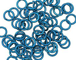 Blue Anodized Aluminum Jump Ring 7mm, 18 gauge (5mm inside diameter)
