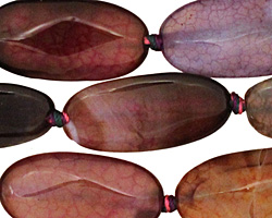 Rainbow Snakeskin Agate Faceted Flat Oval 30x15mm