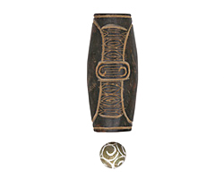 Soochow Jade Carved Laurel Leaf Elongated Oval Focal 61x26-27mm & Round 14mm