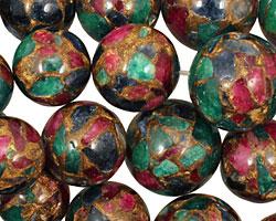 Jewel Tone Mosaic Stone Graduated Round 8-18mm