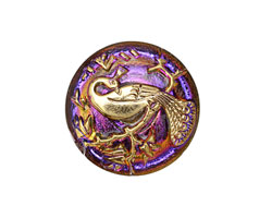 Czech Glass Electric Purple w/ Gold Peacock Button 22mm