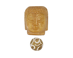 Yellow Soochow Jade Carved Buddha Head 21-22x28mm & Round 14mm