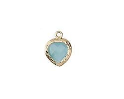Sea Blue Opal Crystal in Gold (plated) Textured Bezel Teardrop 10x13mm