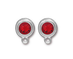 TierraCast Rhodium (plated) Stepped Bezel Ear Post w/ Light Siam Ruby Crystal 12x17mm
