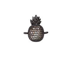 Sands Mix Pave CZ Gunmetal (plated) Pineapple Focal Link 15x17mm