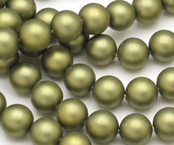 Olive (matte) Shell Pearl Round 10mm