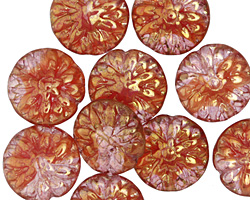 Czech Glass Gilded Pink Grapefruit Dahlia Coin 14mm