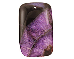 Black & Purple Agate Rectangle Pendant 35x55mm