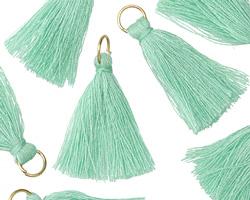 Sweet Mint w/ Jump Ring Thread Tassel 30mm