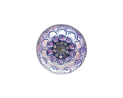 Czech Glass Frosted Tanzanite Mandala Button 18mm