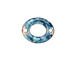 C-Koop Enameled Metal Blue Mix Small Oval Link 18-20x15-16mm