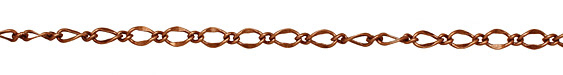 Antique Copper (plated) Long & Short Half Flat Curb Chain
